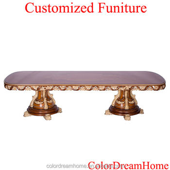 Luxury Classic Italian Furniture Hardwood Carving Long Dining Table Custom  Made Baroque Dining Table