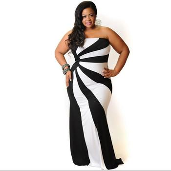 Summer One Piece Dress Sleeveless Off Shoulder Plus Size Bodycon Long Maxi  Dress White And Black Stripped Summer Dress - Buy Summer Dress,Summer One  ...