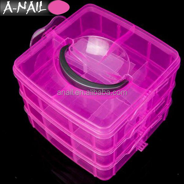 New 3 Layer Plastic Clear Nail Art Storage Boxs Case False Nails Rhinestones Jewelry Beads Organizer Container Makeup Box