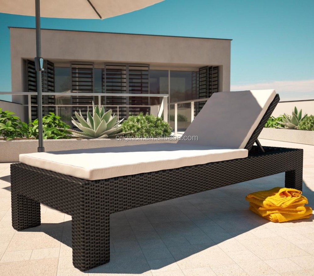 Commercial hotel swimming pool reclining furniture rattan outdoor used chaise lounge