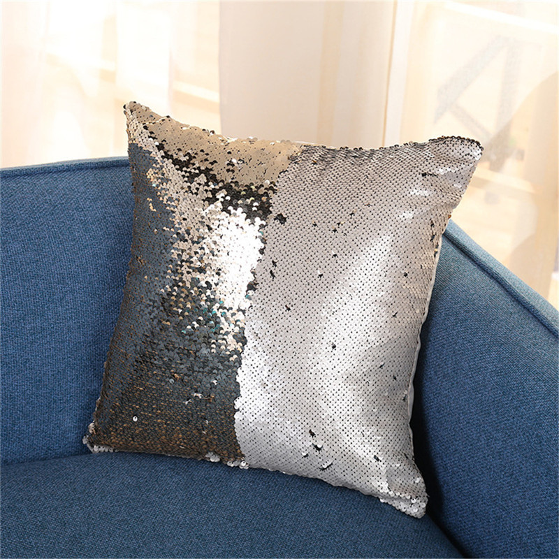 Cheaper Price High Quality Variety Plush Decorative Mermaid Sequins Pillow Case Cover