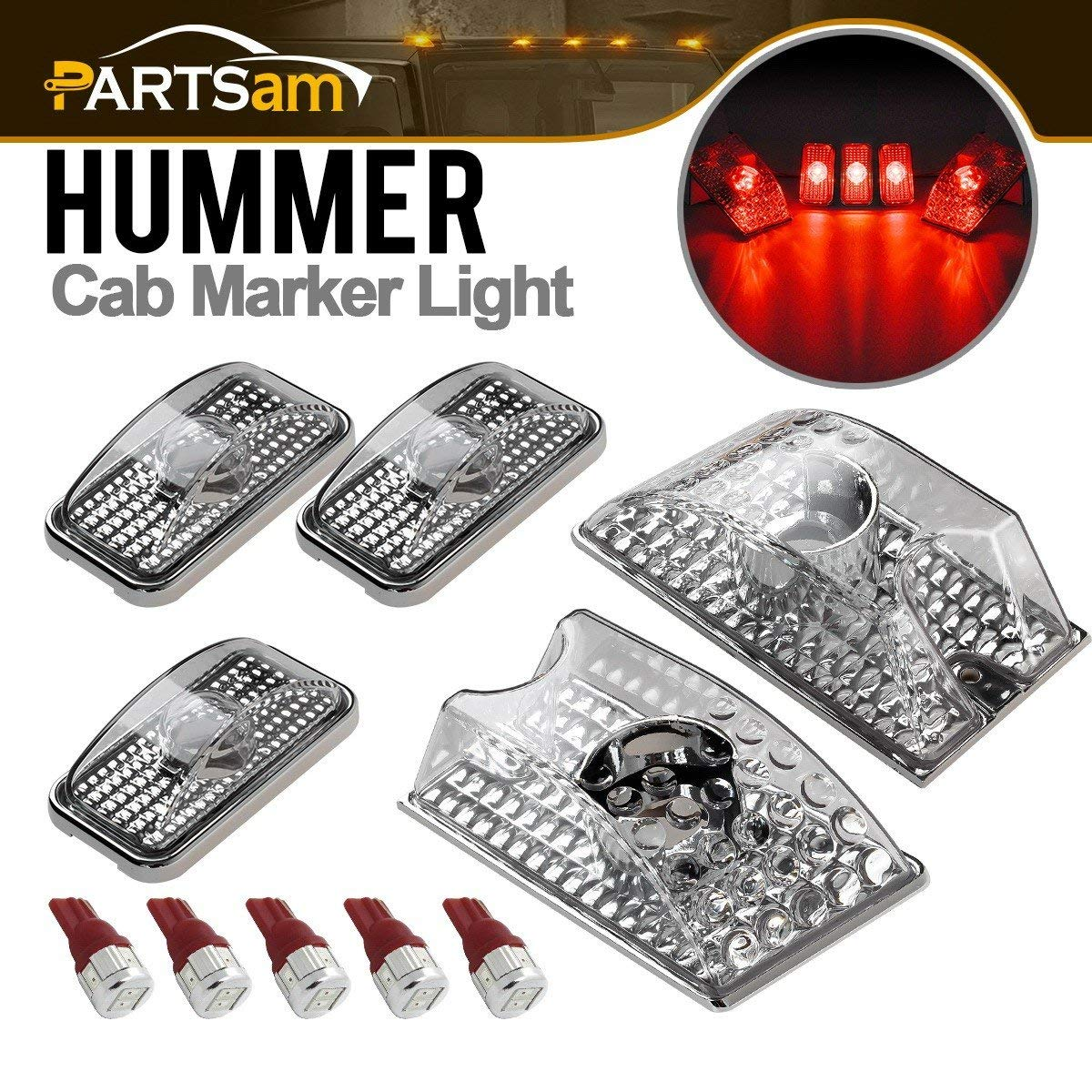 5x 264160BK Smoke Lens Amber Roof Clearance Top Marker Light For 03-09 Hummer H2