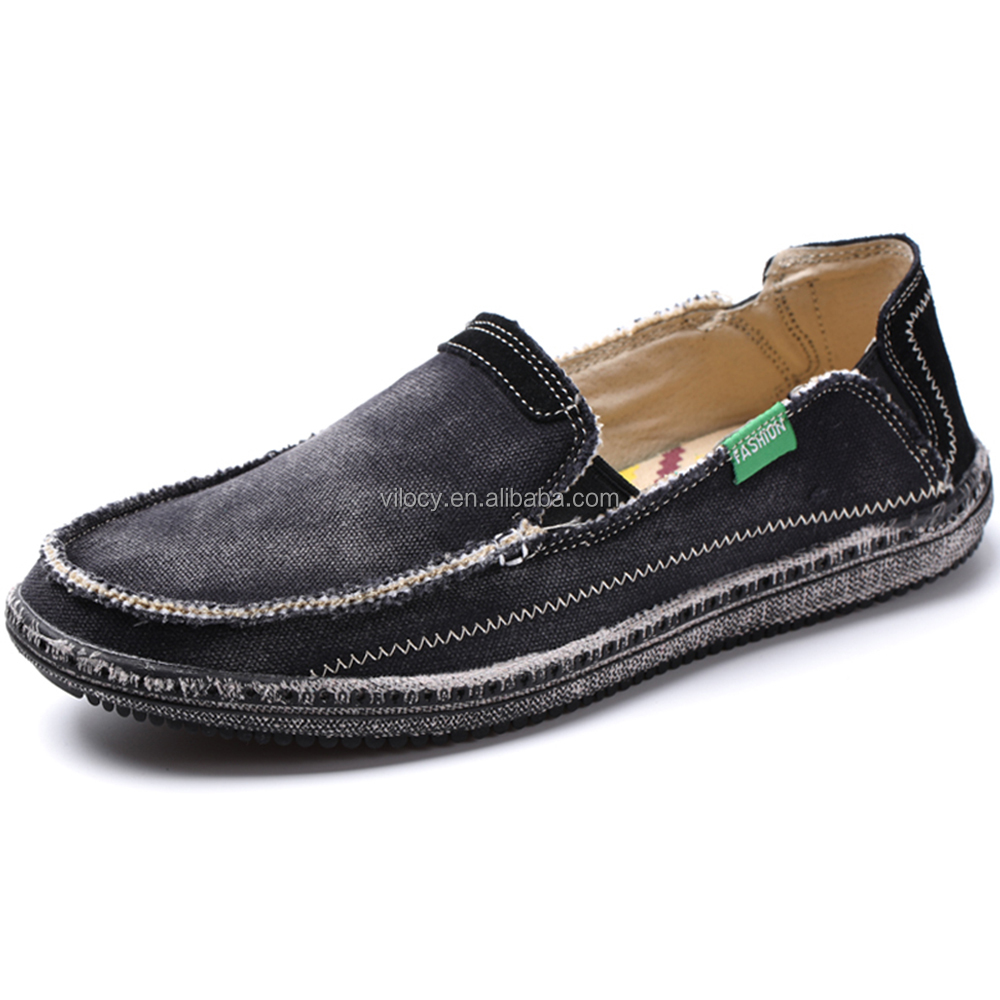 Men's Slip on Deck Shoes Canvas Loafer Vintage Flat Boat Shoes Outdoor Leisure Walking Shoes