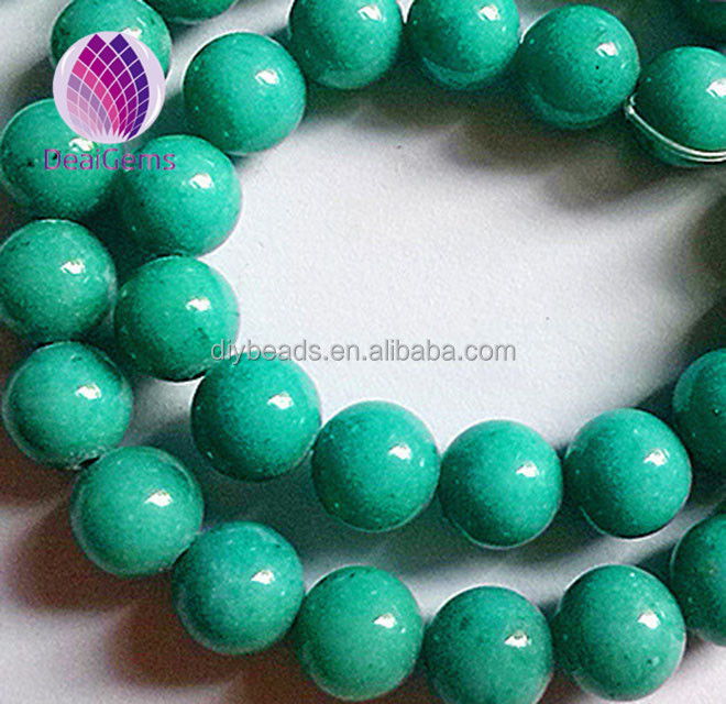 Green Dyed Smooth Natural Gemstone Mashan Jade wholesale gemstone 6mm