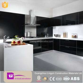 Modern Whole Used Black High Gloss Kitchen Mdf Cabinets With Precut Granite Countertops