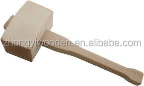 Solid wood hammer rustic wooden mallet