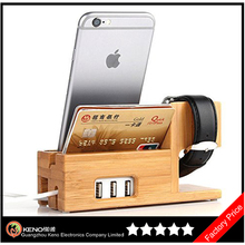 Keno Bamboo Wood Charging Stand with 3 USB Port Charging Mount Holder for Apple Watch and for iPhone 4S 5 5S 6 6 Plus