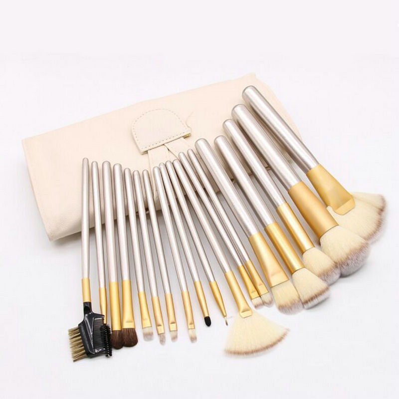 Ready to ship hot selling 18pcs champagne makeup brush set professional wooden makeup brushes with leather bag фото