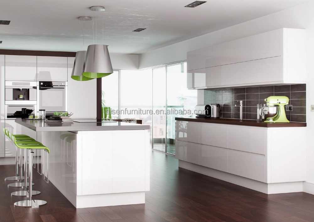 Quality Standard Kitchen Furniture Modern Style Hotel Design Glossy Kitchen Cabinet in White Color