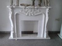 White Marble Stone Fireplace Carving Morden Garden Sculptures -002