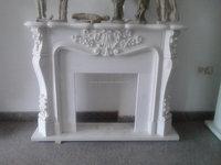 White Marble Stone Fireplace Carving Morden Garden Sculptures -002