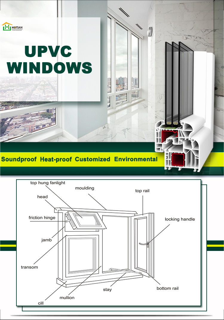 High Quality Customized PVC Windows For House Low Price Slding UPVC Windows Fixed PVC Profile Tilt & Turn Windows