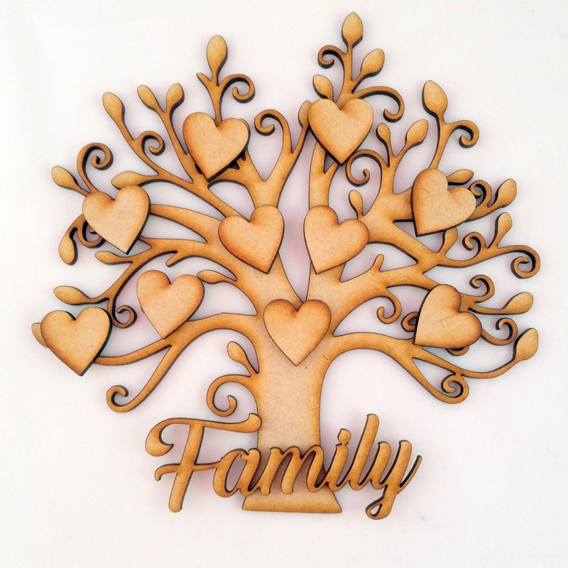 Family Tree Kit Set Heart Birds Laser Cut 3mm MDF Wooden Craft Blank