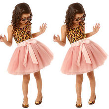 2016 cute new style New Baby Girls font b Dress b font Party Lepord Solid Lace