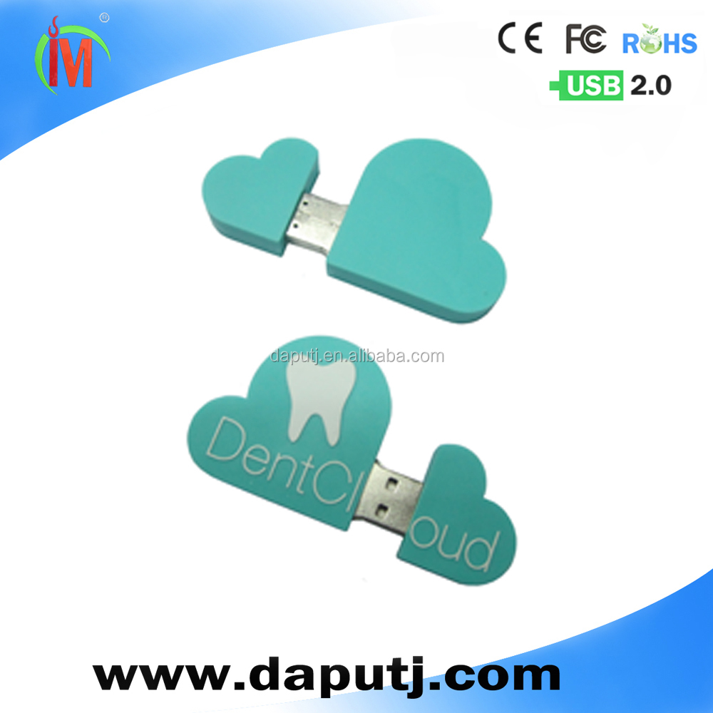 wholesale cloud usb memory with custom logo on the usb shell provide white,blue,green various color