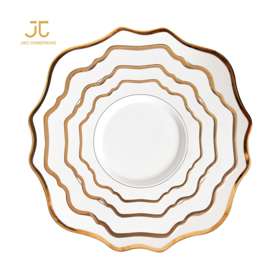 Luxury white housewares kitchen crockery gold rim porcelain dinnerware sets, White with gold rim