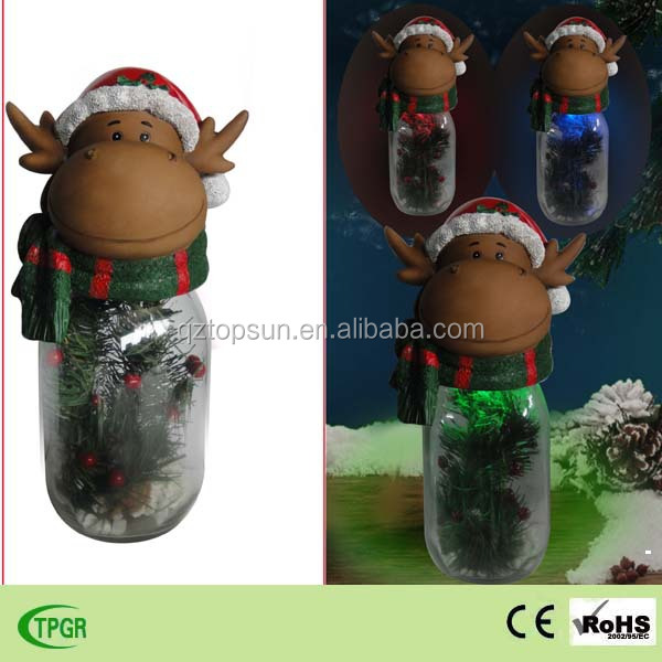 Christmas decoration polyresin reindeer with galss bottle led solar light