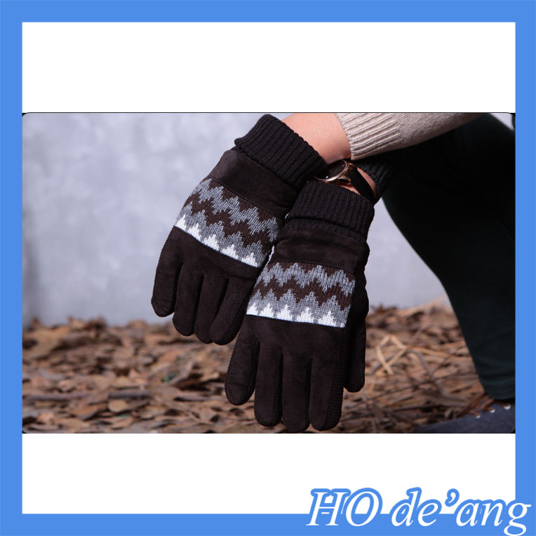 Men's gloves leather Winter Driving Cashmere Lined leather Gloves/patched leather gloves