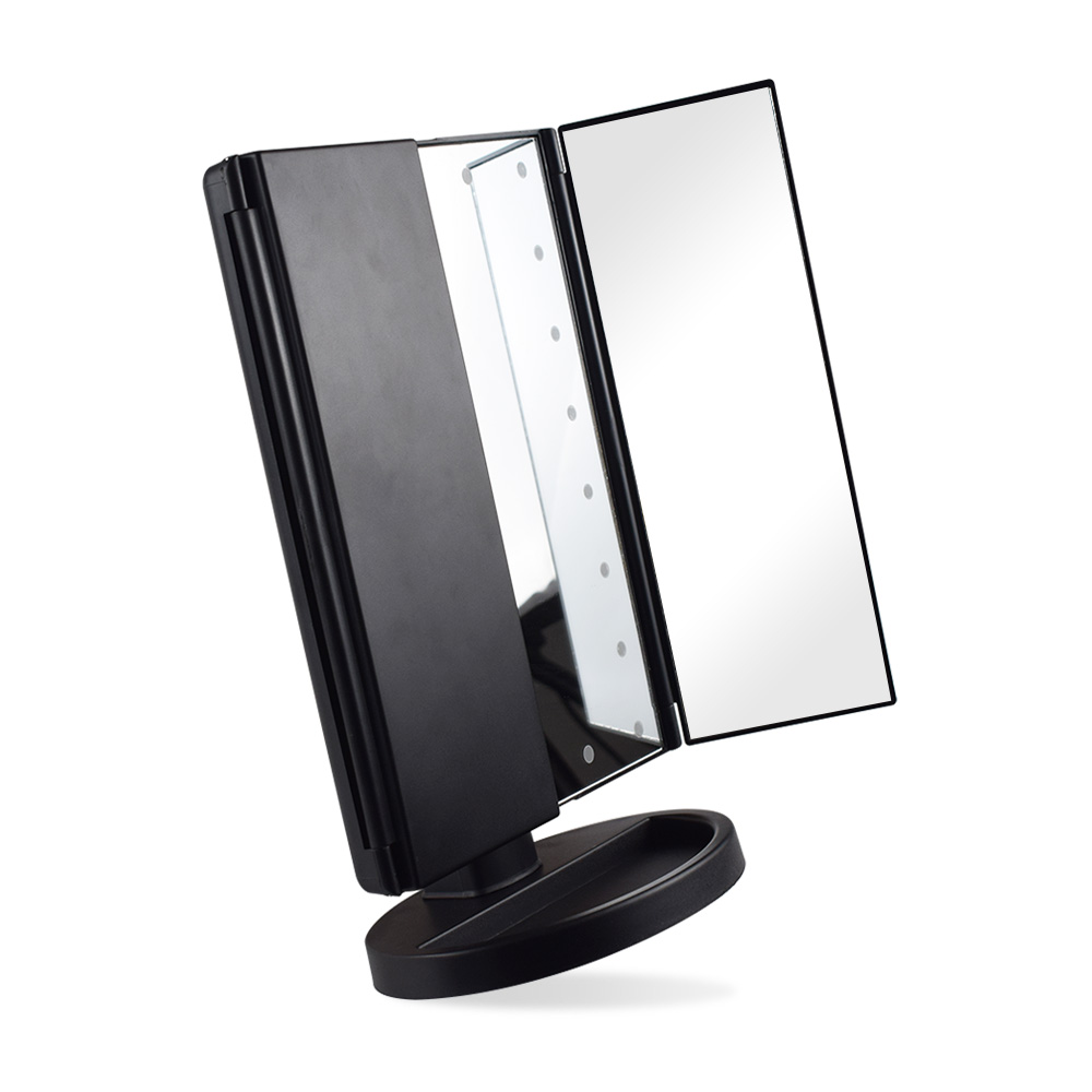 OEM LED Makeup Mirror Screen Touch Led Lightes Mirror Foldable Dust-Proof Makeup Mirror Whole Sale, Black;white;pink