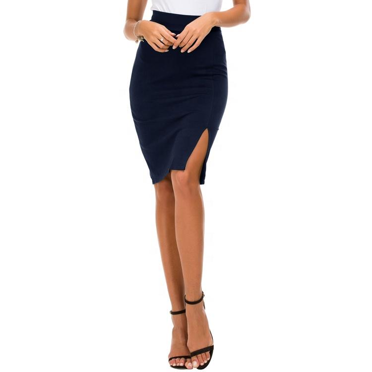 abe66bd739f25c Hot Koop Vrouwen Elastische Side Slit Zoom Mode Sexy Bodycon Potlood Hoge  Taille Rok Dames Rokken