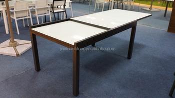 Aluminum Glass Top Garden Extension Outdoor Dining Table JX 2115