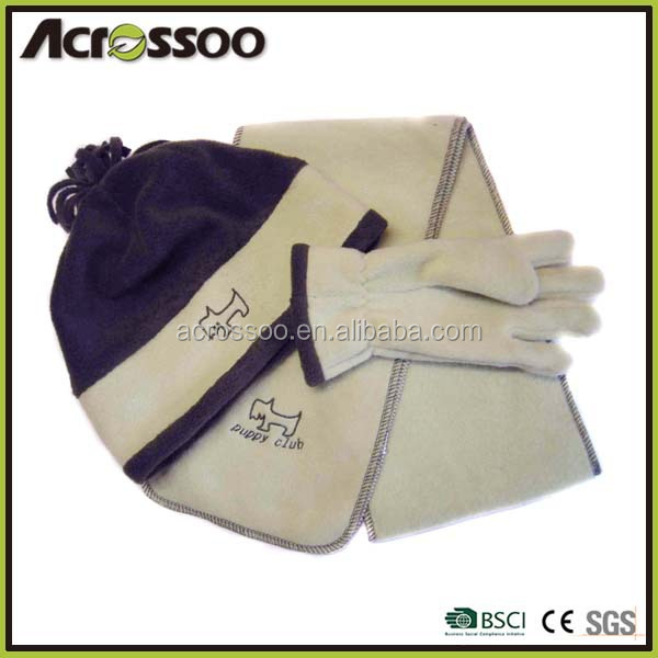 Anti pilling polar fleece knitted hat scarf gloves set,customize logo knitted scarf,fit gloves