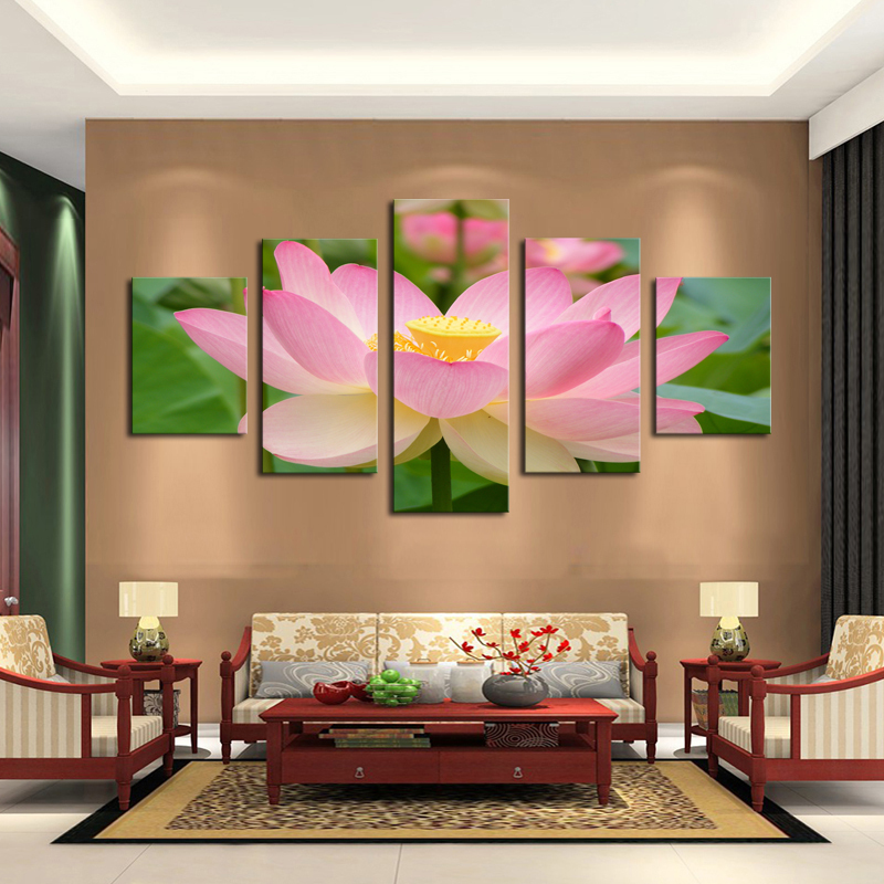 5 panel pink lotus modern painting canvas wall art picture home decoration living room canvas. Black Bedroom Furniture Sets. Home Design Ideas