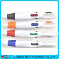 Popular carabiner 4 ink color plastic ball pen