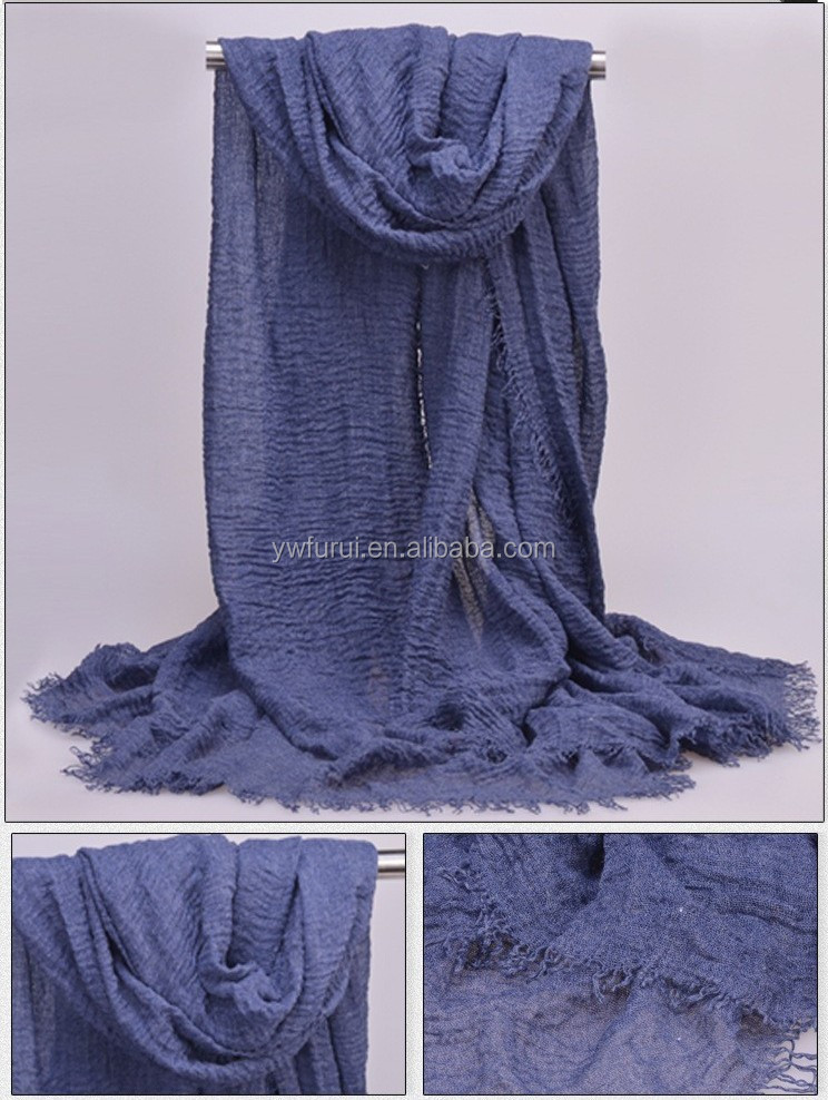 2017 new arab ruffled hijab shawl sex cotton hijab scarf with crushed tassels