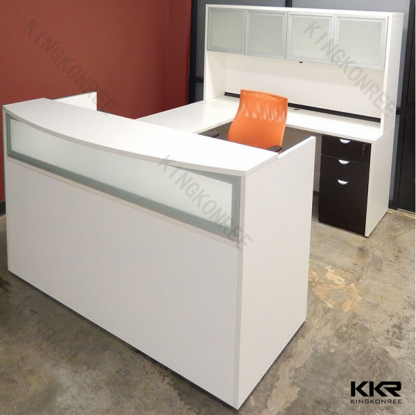 semi circle office desk for office, solid surface stone desk