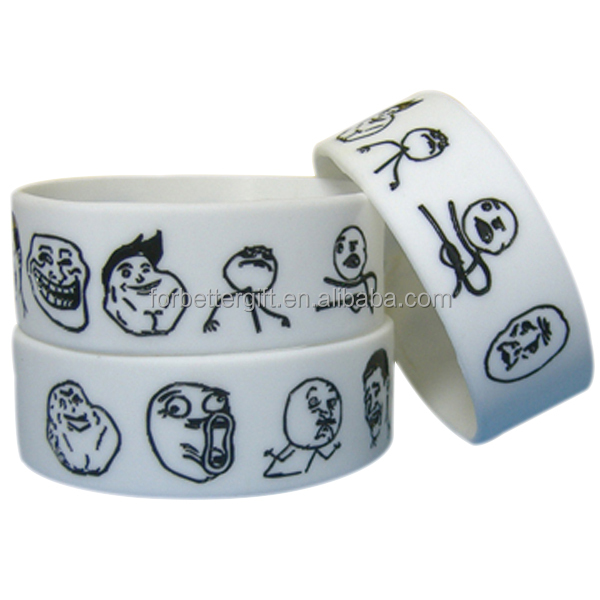 25mm Wide Engraved Colorfilled Rubber Bracelet