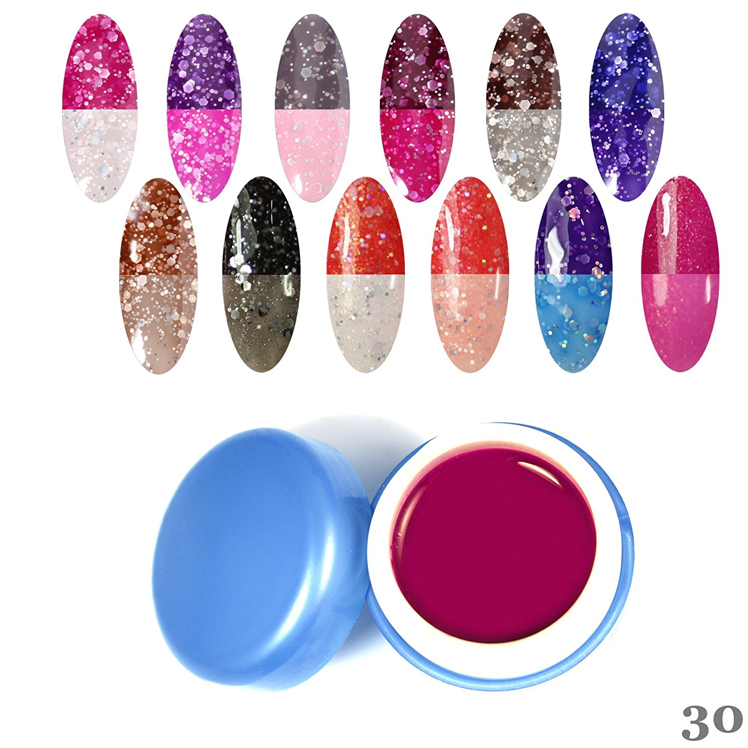 Perfect Summer 12pcs 6ml Chameleon Temperature Changing Colour Nail Lacquers Soak Off Led UV Colors Gel Polish Elegant Thermal Salon Nails Artistic Painting Kits Sets #30