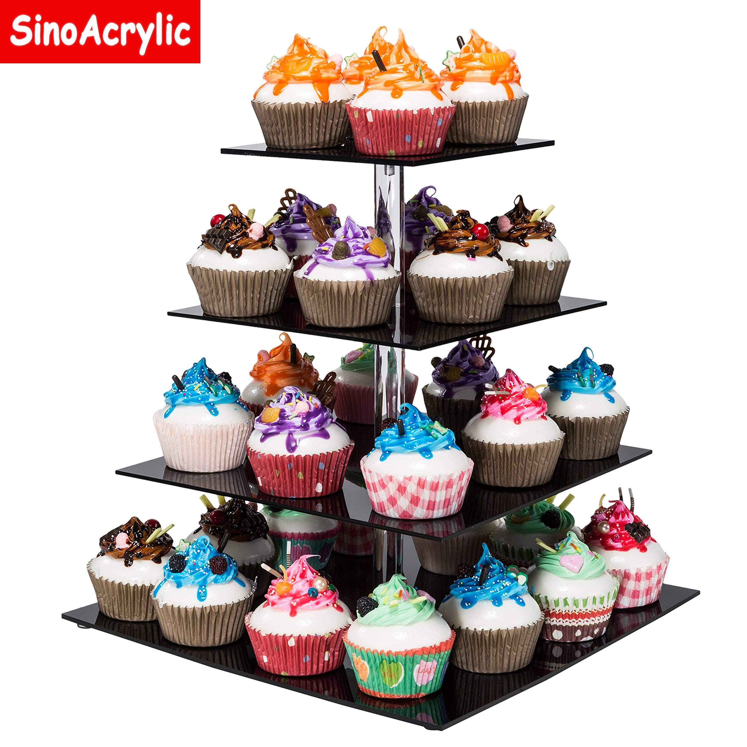 Cheap Large Tiered Cake Stand Find Deals On Cupcake Tier Get Quotations Sinoacrylic 4 Square With Fantastic Plate Dessert Display Holders Black Stacked