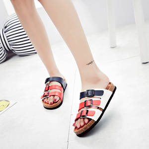 2018 Ladies shoes New designed three Strap Slippers regular Cork Footbed Slippers C1015