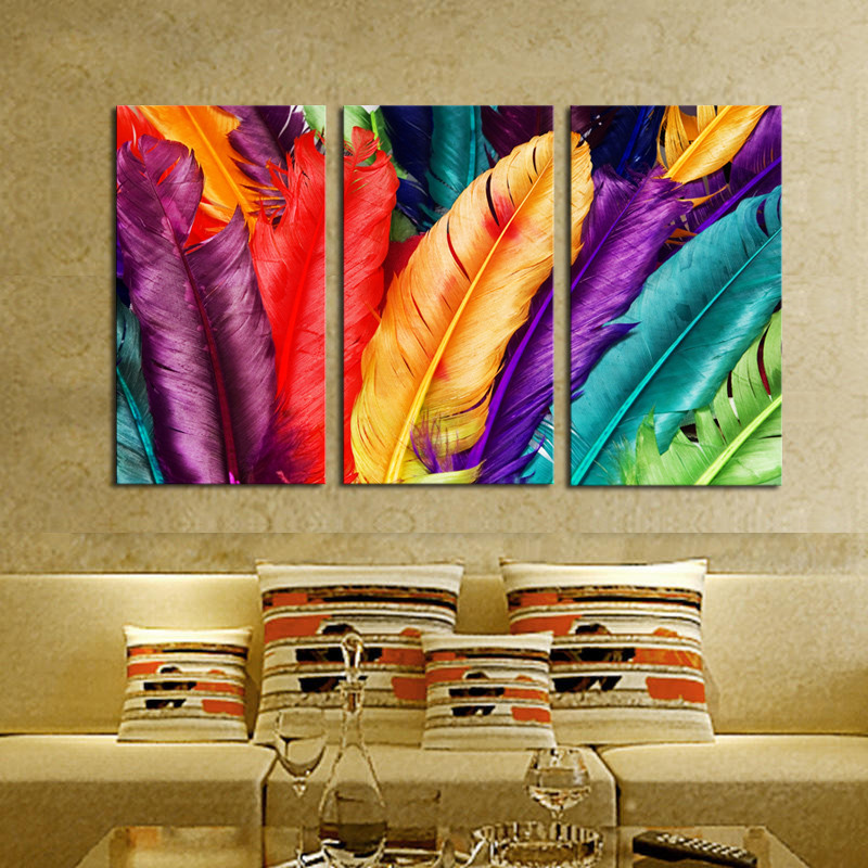 3 Piece Fresh Look Color Feather Modern Home Wall Decor Painting Canvas Art Hd Picture Paint On Canvas Prints