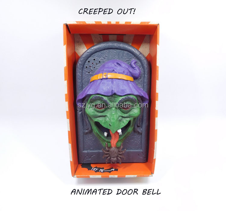 Electronic Halloween Decorations: Witch Shaped Electronic Halloween Door Bell With Led Eye