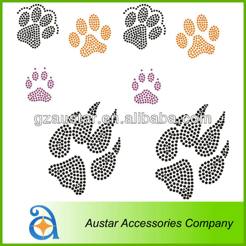 VARIOUS PAW HOTFIX Rhinestone Transfer Motif,Heat transfer Iron on Motif Transfer