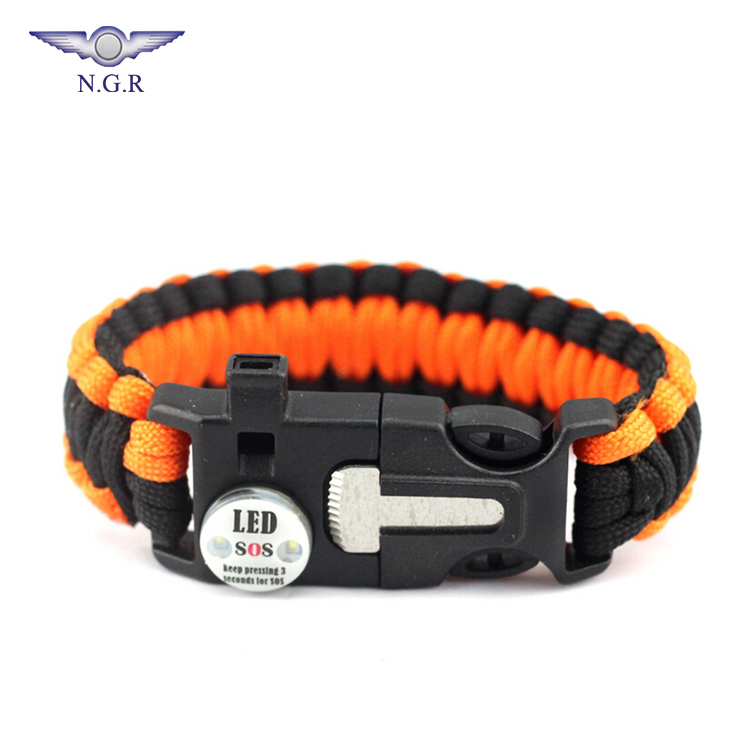 Factory hot selling outdoor survival Emergency adjustable-size paracord bracelet with custom logo and LED SOS light, Red;army green;blue;black and others