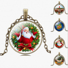 Merry Christmas time precious stones glass bronze necklace pendant for wholesale