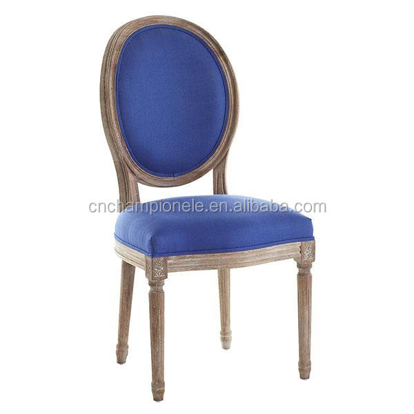 French style Archer Blue Dining Chair Round Back Wood Chair MX-2174