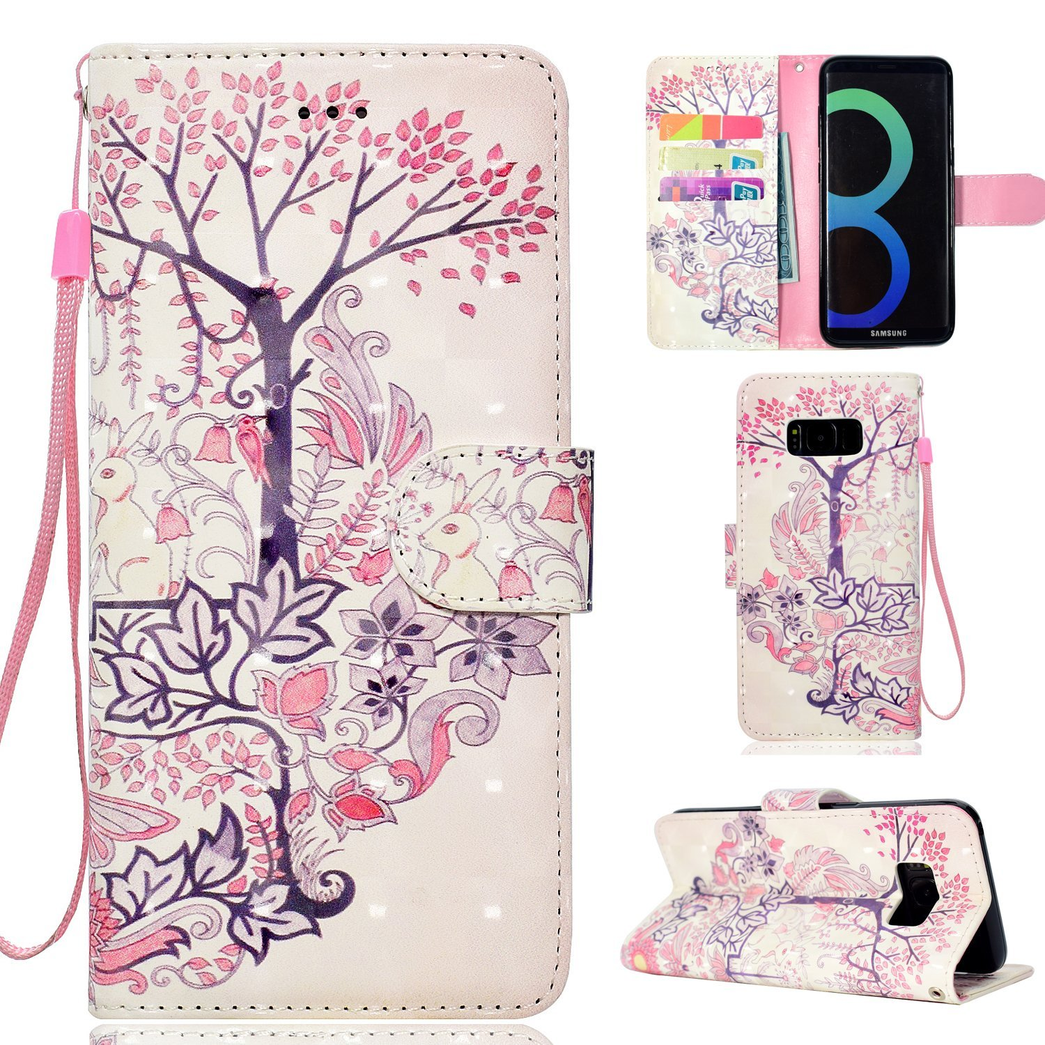Galaxy S8 Plus Case, Ranyi [Full 3D Painting Print] [Flip Magnetic Wallet] [Glitter & Shiny] [ID&Card Holder] Cute Bling Leather Wallet Protective Case for Samsung Galaxy S8+ Plus (2017), rabbit