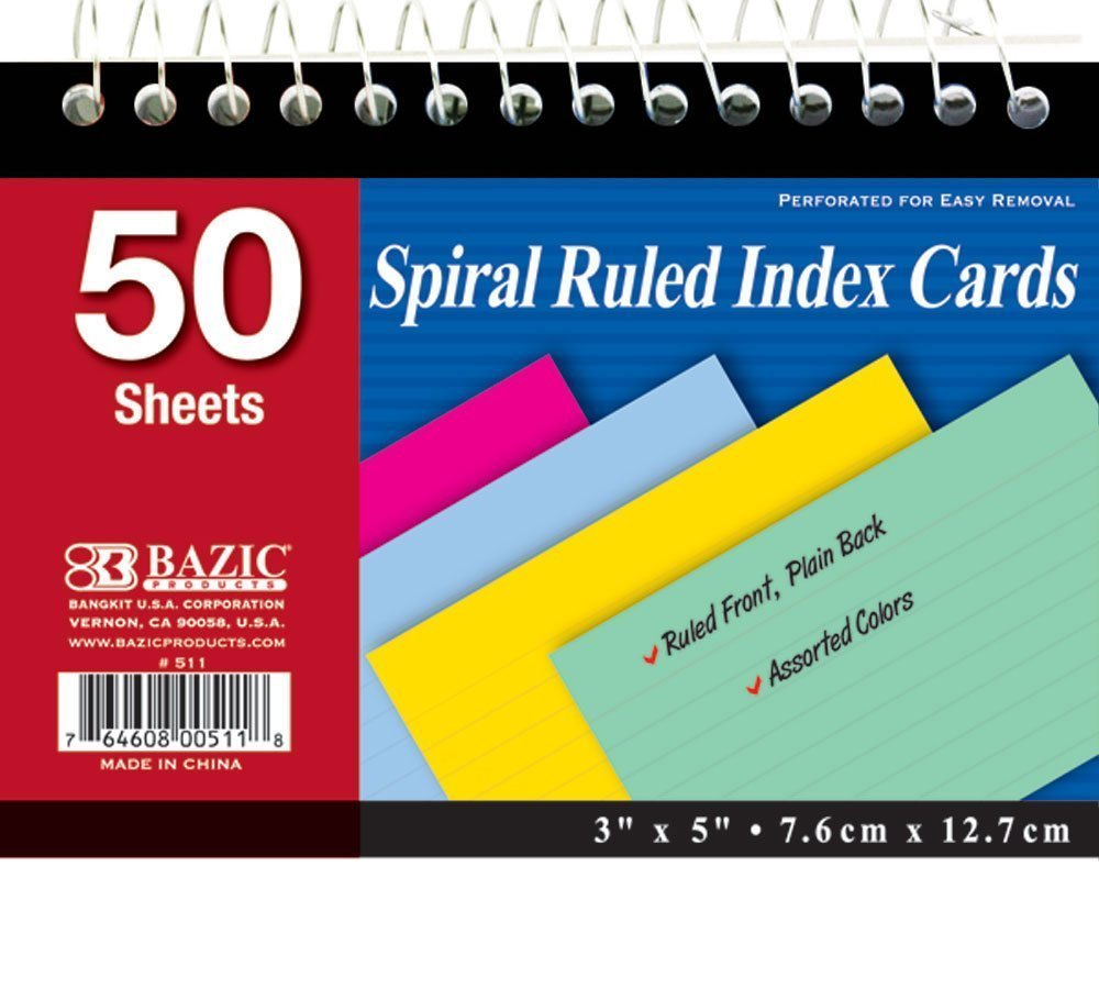 "BAZIC 50 Ct. Spiral Bound 3"" X 5"" Ruled Colored Index Card, Case Pack 36"