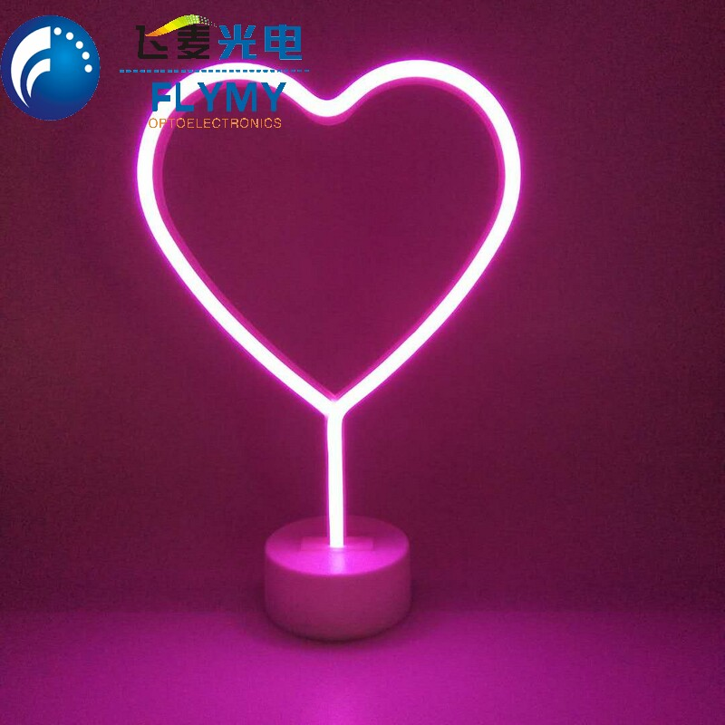 New design led custom flamingo unicorn cactus rainbow neon light sign desk standing with 3AA battery power supply