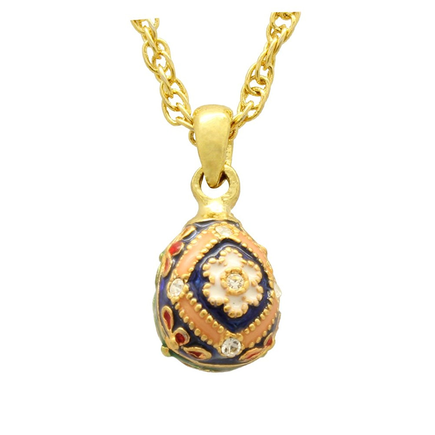 MYD Jewelry Small Crystal Enamel Flower Faberge Egg Pendant Necklace