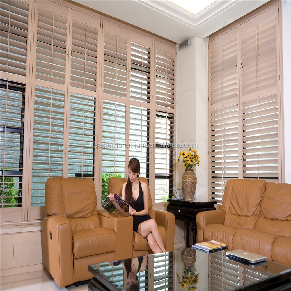 Quick Delivery Custom Basswood Timber Folding Plantation Shutters