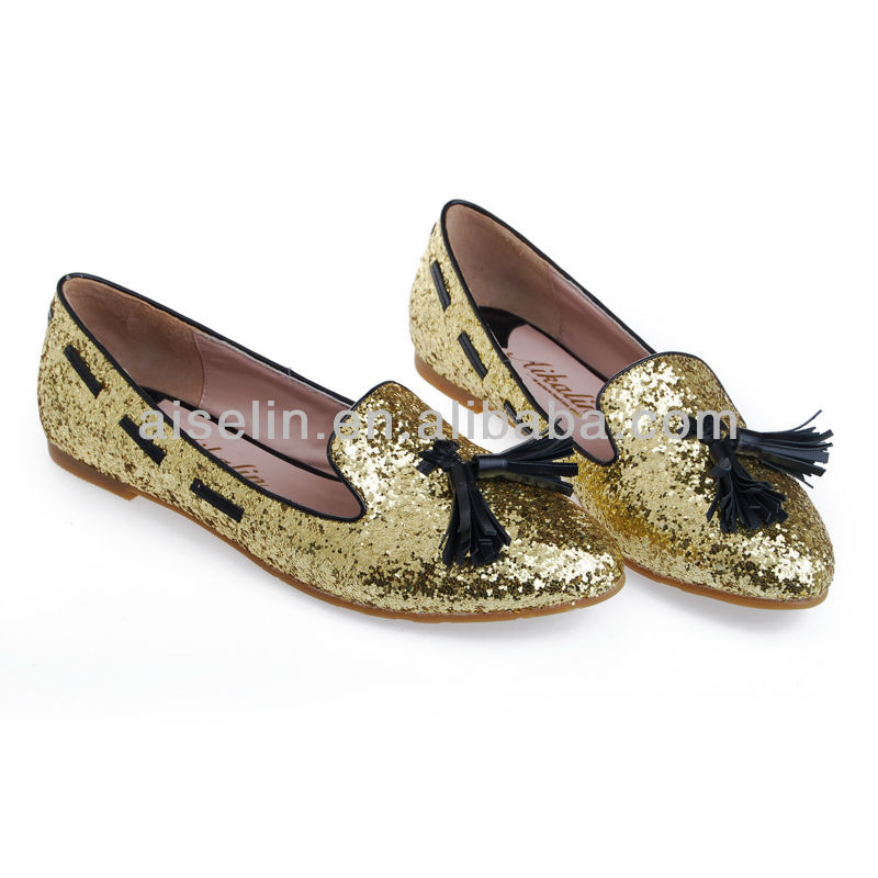 Spring latest gold glitter big size women flat shoes 2013 wholesales