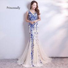 Женское вечернее платье-Русалочка, длинное платье с блестками и треугольным вырезом для банкета и выпускного бала, Abiti Da Cerimonia Avondjurk(Китай)