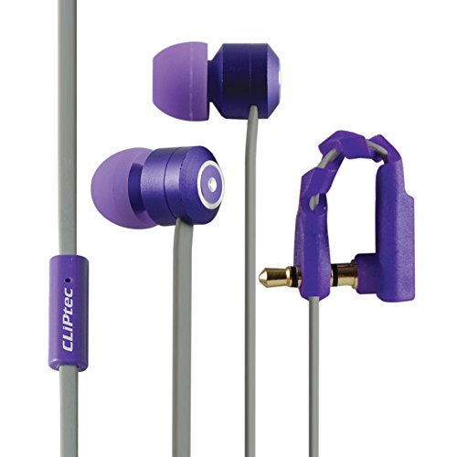 Cliptec Purple Urban Curve Music Stereo Wired In-Ear Earphone Headphones Earbuds Noise Isolation In-line Control w/ Micphone 3.5mm Audio Jack Flat Tangle Free Cable + 2 Set Extra Ear Sleeve