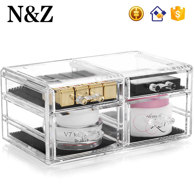 NZ C198-4 Clear Small Cute Jewelry Lipstick Holder 4 Drawers Acrylic Makeup Case
