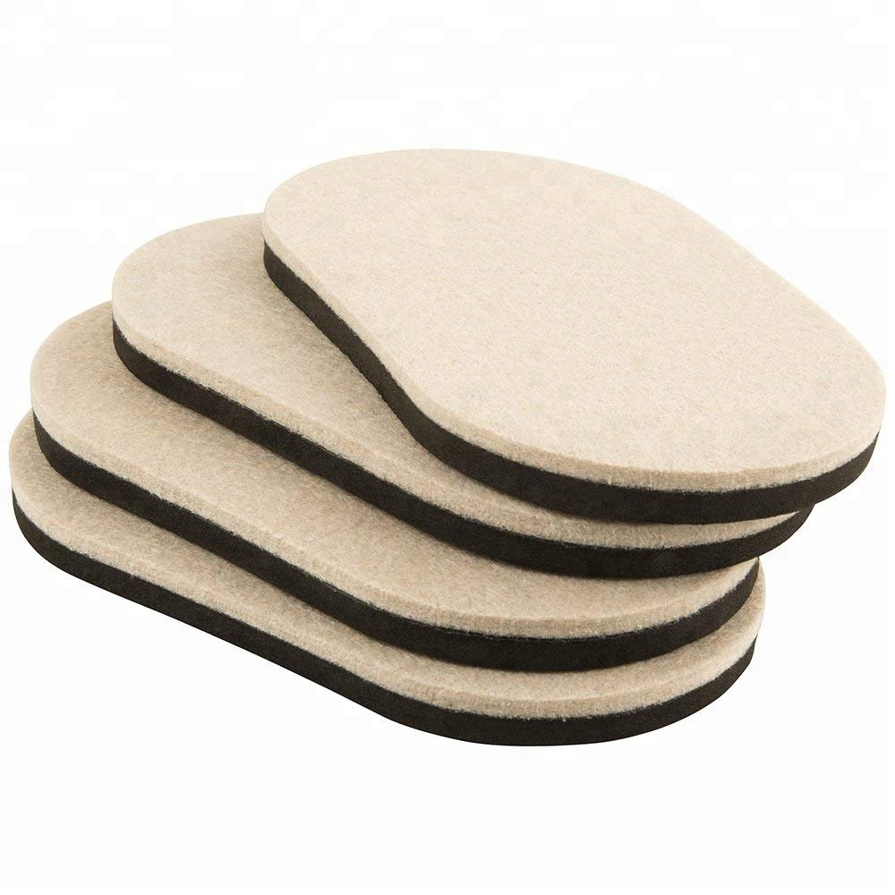 Large Oval Felt Sliders Felt Furniture Moving Pads with non-slip Rubber Foam for Hard Surfaces
